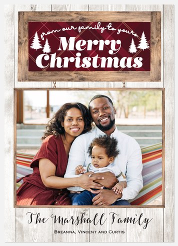 Wooden Sign Holiday Photo Cards