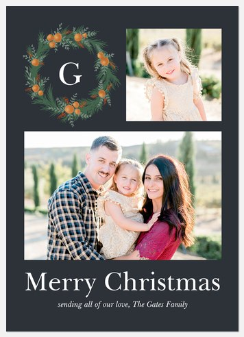 Citrus Wreath Holiday Photo Cards