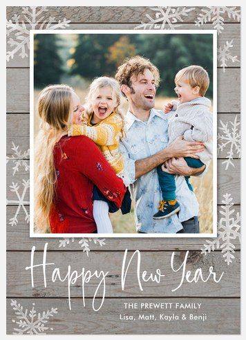 Weathered Snowflakes Holiday Photo Cards