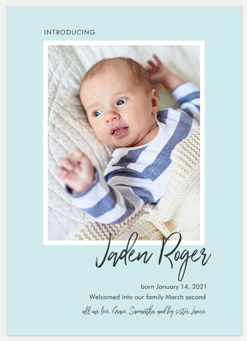 Brushed Introductions Baby Birth Announcements