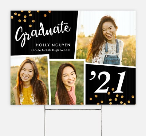 Glitter Grad Graduation Yard Signs