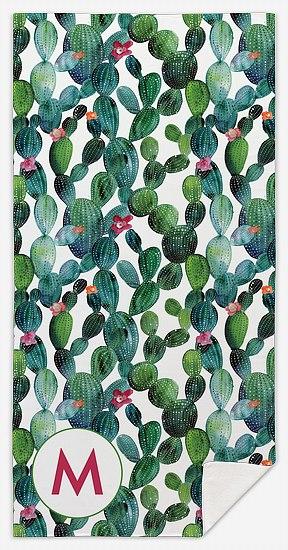 Spring Cactus Custom Beach Towels