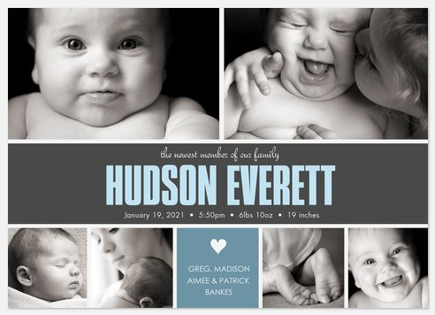 Family Heart Baby Birth Announcements