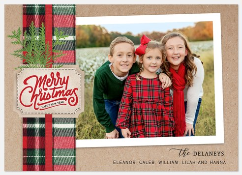 Plaid Ribbon Holiday Photo Cards