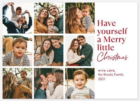 Merry Little Grid Holiday Photo Cards