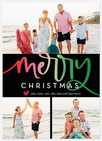 Rainbow Collage Holiday Photo Cards
