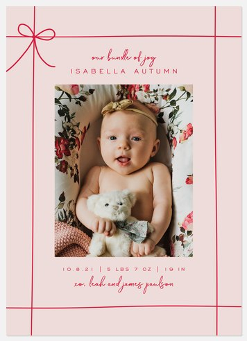 Gift Wrapped Pink Holiday Photo Cards