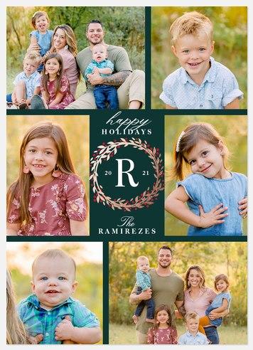Monogram Wreath Holiday Photo Cards