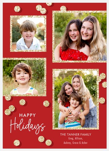 Glitter Confetti Holiday Photo Cards