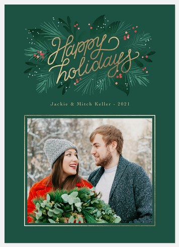 Golden Pines Holiday Photo Cards