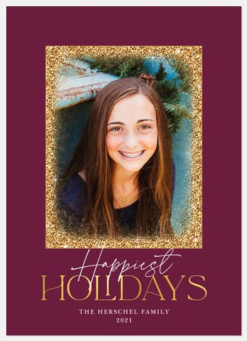 Glittered Frame Holiday Photo Cards