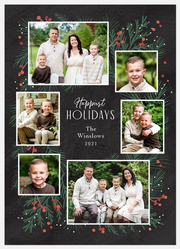 Pine Wreath Holiday Photo Cards