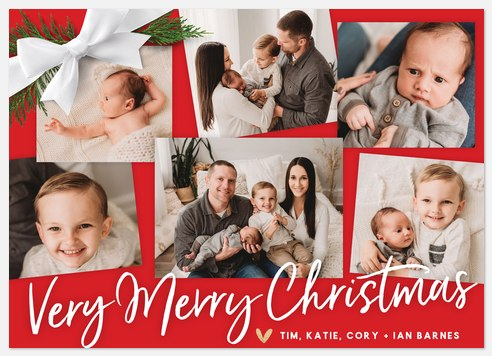 Ribbon On Top Holiday Photo Cards