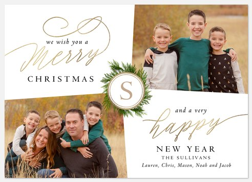 Refined Wreath Holiday Photo Cards