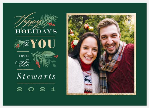 Sprigs of Green Holiday Photo Cards