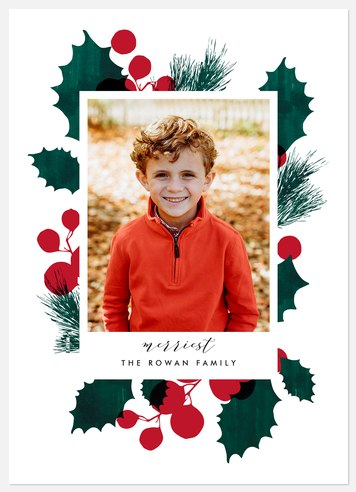 Holly Silhouette Holiday Photo Cards