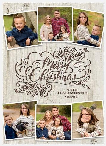 Aspen Woodcut Holiday Photo Cards