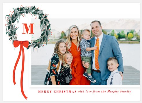 Initial Wreath Holiday Photo Cards